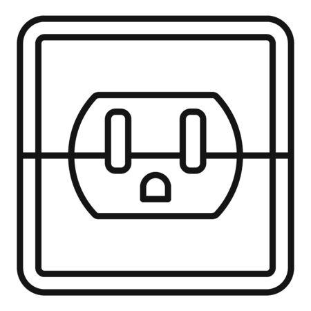 Device power socket icon, outline style Stock Illustratie