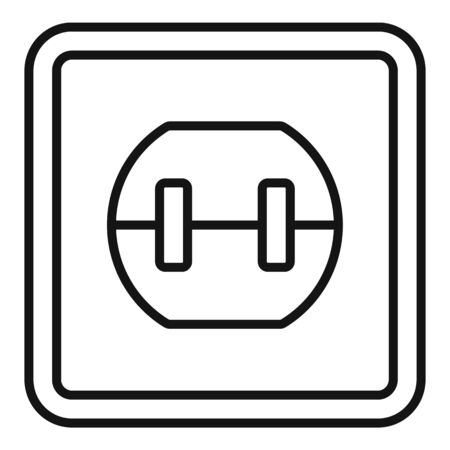 Element power socket icon, outline style 向量圖像