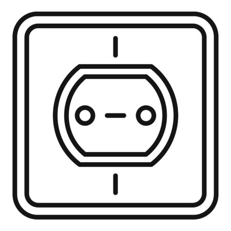 Tech power socket icon, outline style
