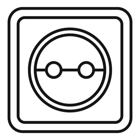 Cable power socket icon, outline style