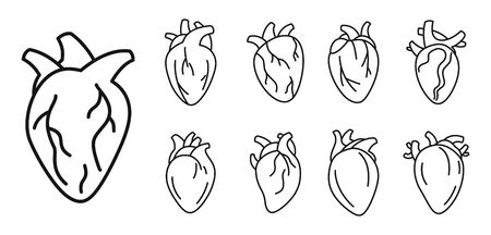 Biology human heart icons set, outline style