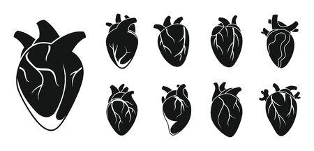 Human heart cardiac icons set. Simple set of human heart cardiac vector icons for web design on white background
