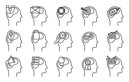 Emotional neuromarketing icons set. Outline set of emotional neuromarketing vector icons for web design isolated on white background 向量圖像
