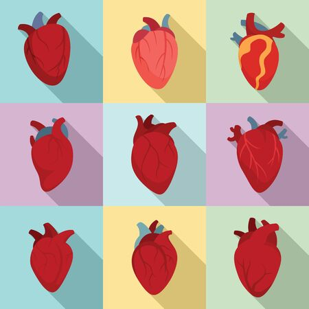 Human heart icons set. Flat set of human heart vector icons for web design