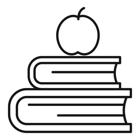 Apple book stack icon. Outline apple book stack vector icon for web design isolated on white background