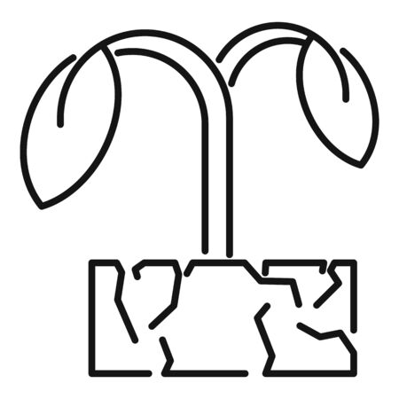 Drought soil plant icon, outline style