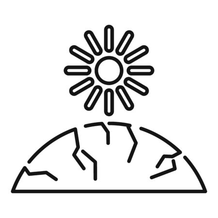 Sun ground drought icon, outline style 일러스트