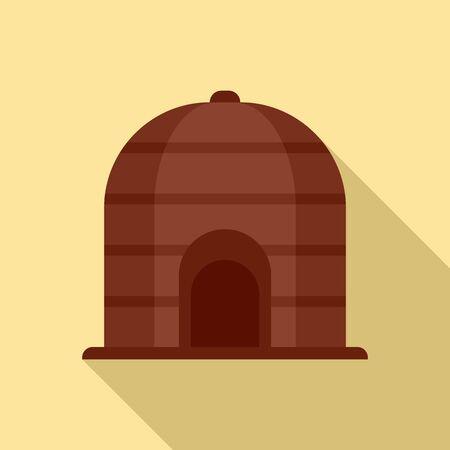 Nigerian tribal house icon, flat style 일러스트
