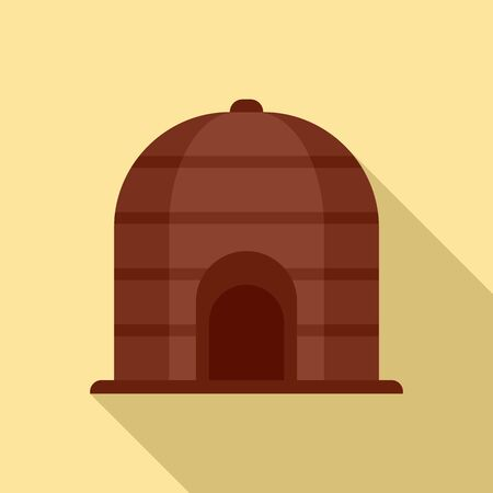 Nigerian tribal house icon, flat style Illustration