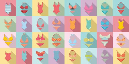 Swimsuit icons set. Flat set of swimsuit vector icons for web design