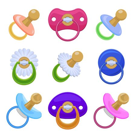 Pacifier icons set. Cartoon set of pacifier vector icons for web design
