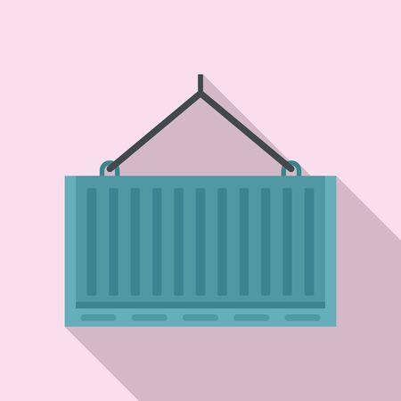Port crane container box icon. Flat illustration of port crane container box vector icon for web design Ilustracja