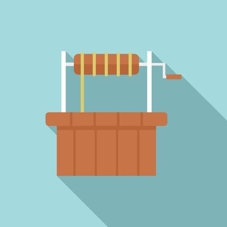 Oasis water well icon, flat style  イラスト・ベクター素材