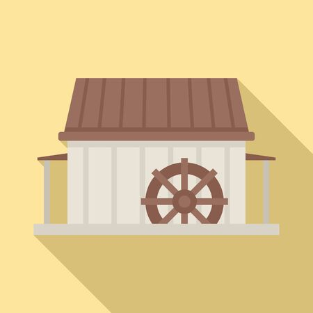 Water mill icon, flat style Illustration