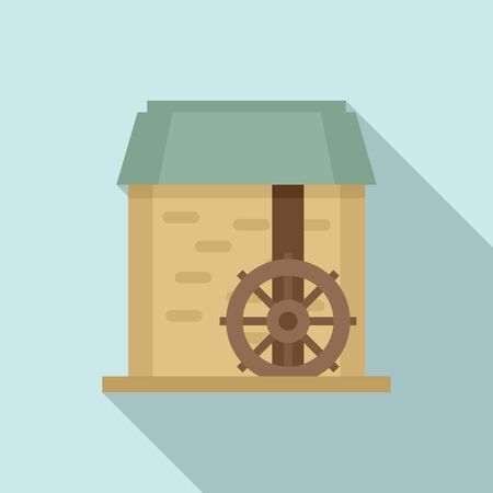 Water mill wheel icon, flat style