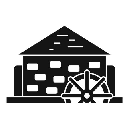 Antique water mill icon, simple style