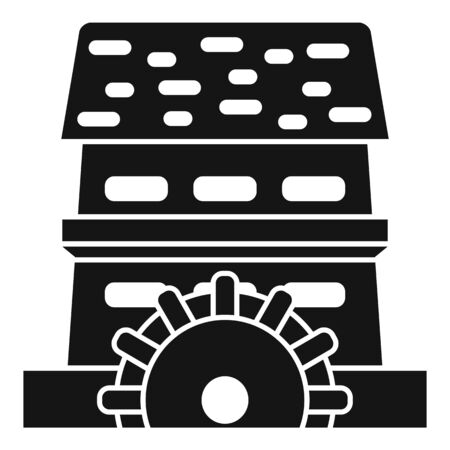 Waterwheel mill icon, simple style
