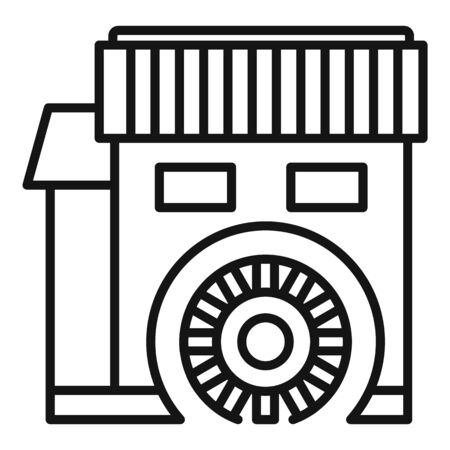 Water mill icon, outline style