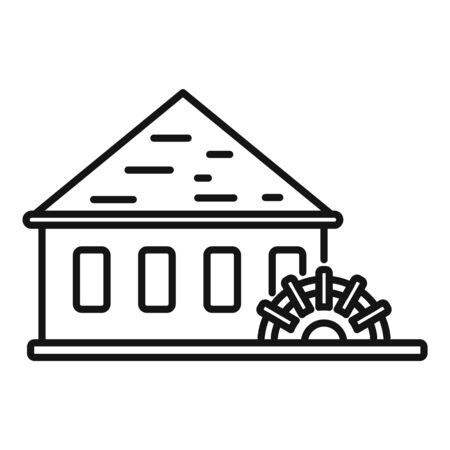 Water mill wheel icon, outline style Illustration