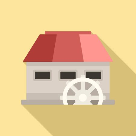 Energy water mill icon, flat style