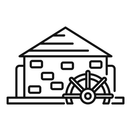 Turbine water mill icon, outline style