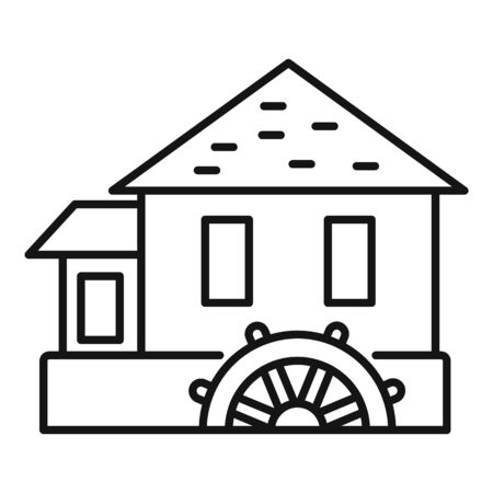 River water mill icon, outline style