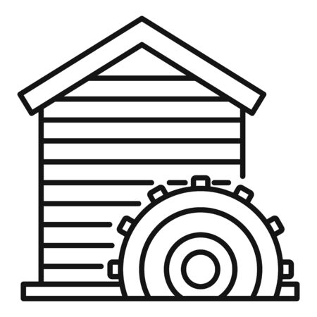 Construction water mill icon, outline style Illustration