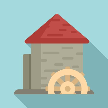 Construction water mill icon, flat style