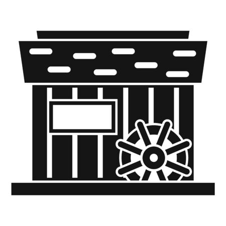 Farm water mill icon, simple style