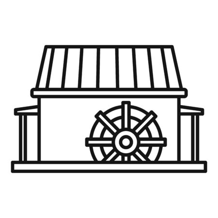 Farm water mill icon, outline style