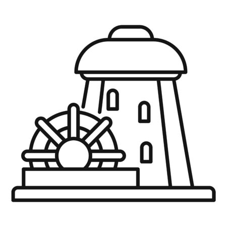 Building water mill icon, outline style Illustration