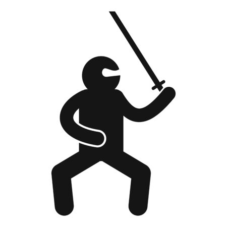 Asian ninja icon, simple style Çizim