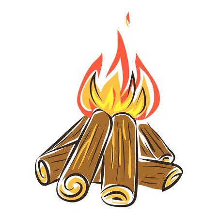 Fireplace icon, cartoon style Vector Illustration