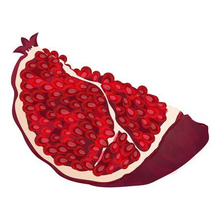 Slice pomegranate icon, cartoon style