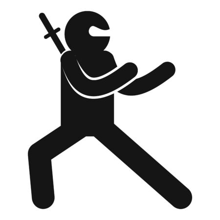 Ninja pose icon, simple style