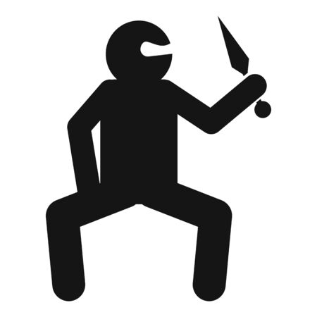 Ninja warrior icon, simple style