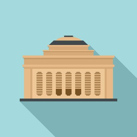 Academy building icon, flat style
