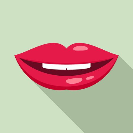 Mouth kiss icon, flat style
