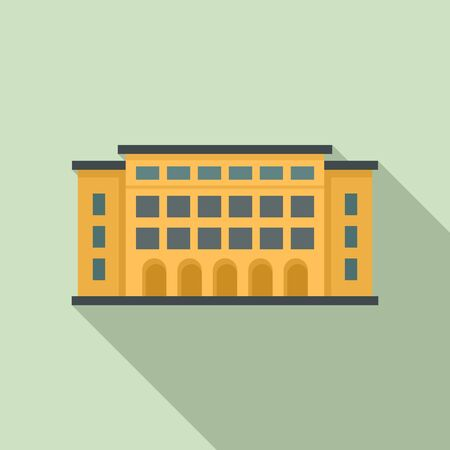 Library building icon, flat style