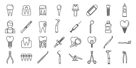 Tooth restoration clinic icons set. Outline set of tooth restoration clinic vector icons for web design isolated on white background Vettoriali