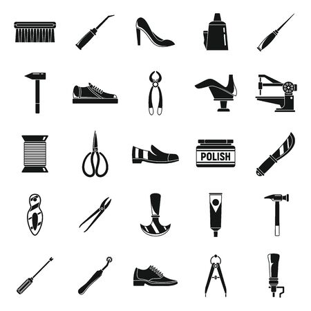 Classic shoe repair icons set, simple style Vector Illustration