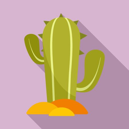 Mexican cactus icon, flat style