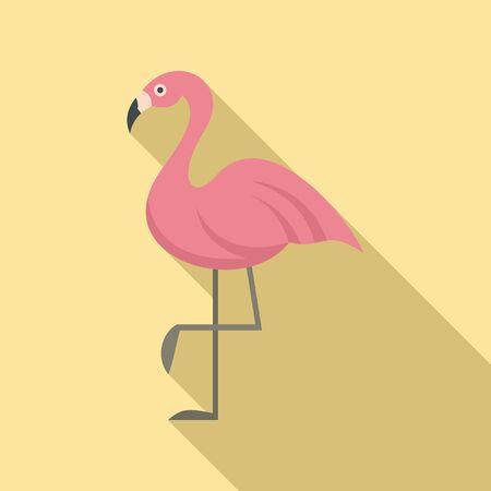 Flamingo bird icon, flat style Illusztráció