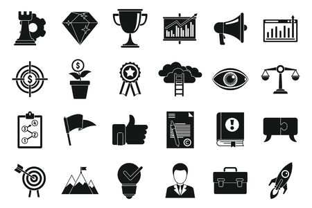 Mission quality icons set. Simple set of mission quality vector icons for web design on white background