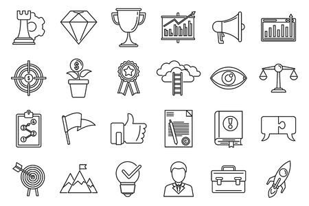 Success mission icons set. Outline set of success mission vector icons for web design isolated on white background