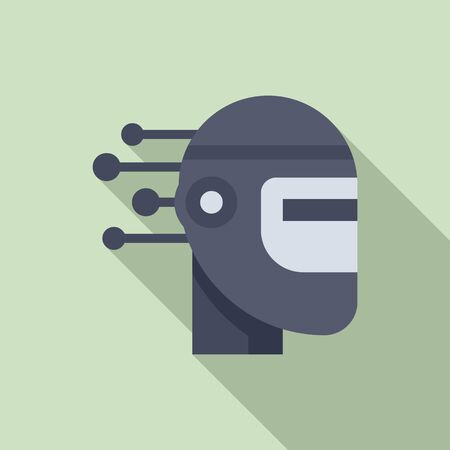 Robot machine learning icon, flat style
