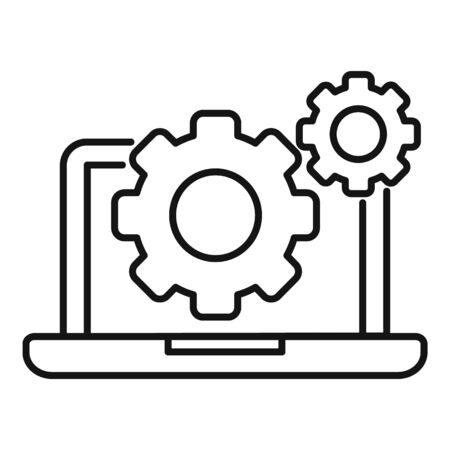 Laptop gear system icon, outline style Stock Illustratie