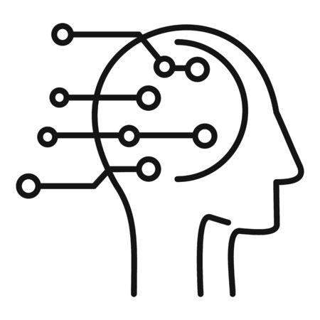 Artificial intelligent icon, outline style