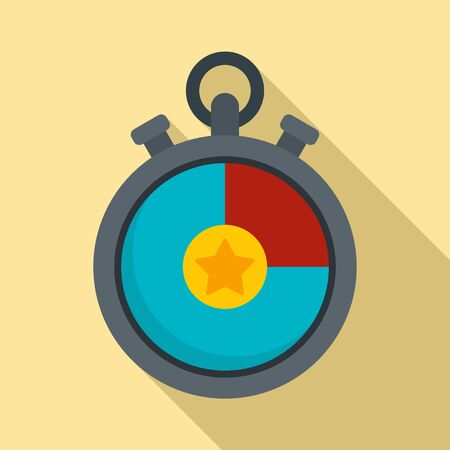 Video game stopwatch icon, flat style