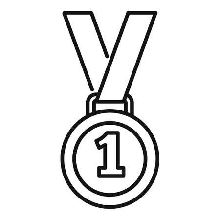 Video game medal icon, outline style Illusztráció